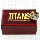 TEAM LOGO WOODEN CASE 1999 Tennessee Titans AFC Football world Championship Ring 10-13S
