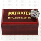 TEAM LOGO WOODEN CASE 2007 New England Patriots AFC Football world Championship Ring 10-13S