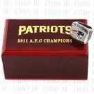 TEAM LOGO WOODEN CASE 2011 New England Patriots AFC Football world Championship Ring 10-13S