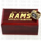 TEAM LOGO WOODEN CASE 1979 LOS ANGELES RAMS NFC Football world Championship Ring 10-13S