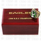 TEAM LOGO WOODEN CASE 1980 PHILADELPHIA EAGLES NFC Football world Championship Ring 10-13S