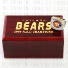 TEAM LOGO WOODEN CASE 2006 Chicago Bears NFC Football world Championship Ring 10-13S