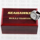 TEAM LOGO WOODEN CASE 2014 Seattle Seahawks NFC Football world Championship Ring 10-13S