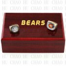 TEAM LOGO WOODEN CASE SET 2PCS 1985 2006 Chicago Bears Football Championship Ring 10-13S