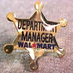 Department Manager Gold Star Walmart Lapel Pin