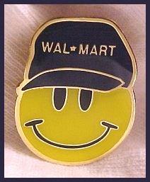 Smiley Face in Walmart Ball Cap Lapel Pin