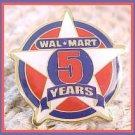 Walmart 5 year Associate Star Lapel Pin