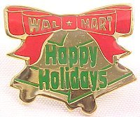 Happy Holidays Bells Walmart Christmas Lapel Pin