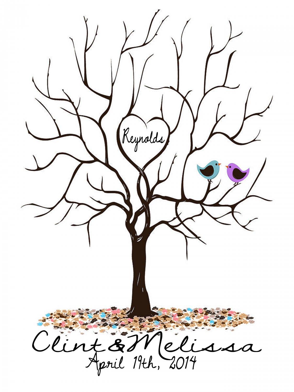 Large alternative wedding guest registry fingerprint tree for Top 10 wedding registry stores