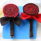 red and brown lollipop hair clips