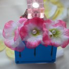 flower with pearl bobby pins-pink/white
