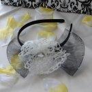 girls flower headband-white