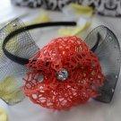 girls flower headband-red