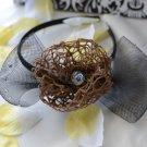 girls flower headband-dark brown