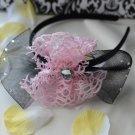 girls flower headband-pink