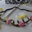bridal flower headband-pink