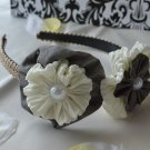 white grey flower headband