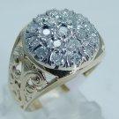Vintage 14K Yellow Gold 1ct Diamond Filigree Men Ring 7.4 Grams