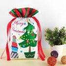 6Pcs Christmas Tree Sack Candy Drawstring Gift Bags Xmas Storage Ribbon Decor