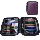 13 Sizes Interchangeable Aluminium Circular Crochet Knitting Needle Set Case