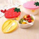 Cute Strawberry Lunch Box Food Container Storage Box Portable Bento Box Spoon