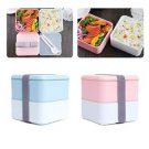 2 Layer Japanese Lunch Box Lunchbox Picnic Food Container with Spoon Chopsticks
