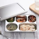 Stainless Steel Lunchbox Divided Lunch Food Serving Bento Box Tray + Cover Set