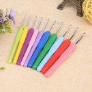 10pcs Multicolor Soft Plastic Handle Aluminum Crochet Hooks Needles Set