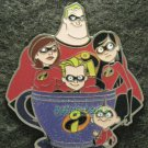 Disney Pin 2011 HKDL Mystery Tin Pin Tea Cup Collection - the Incredibles Family