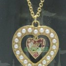 "Disney HKDL Artificial Pearl Heart Necklace 18"" (45cm)"