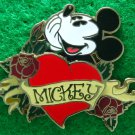 Disney Pin 2008 HKDL Hand on Chin Mickey with Roses & Heart