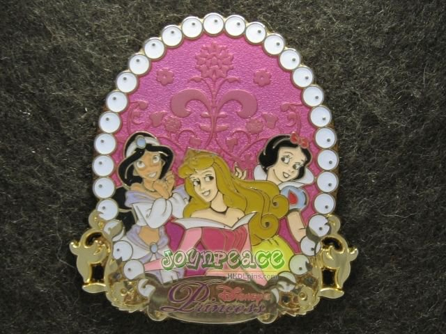 Disney 2009 Pin HKDL Princesses Jasmine Aurora & Snow White