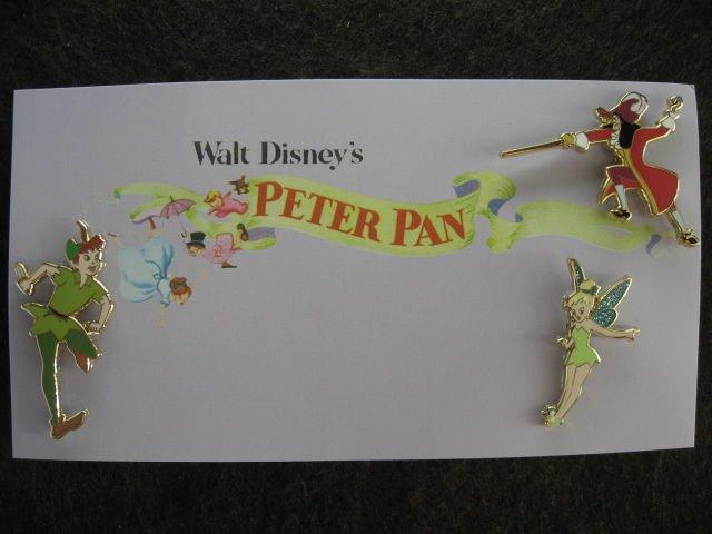 Disney Shopping.com 3-Pins Peter Pan Pin & Card Set LE300