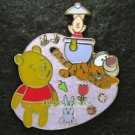 57800 Disney Pin 2007 HKDL - Cute Characters - Pooh & Friends in Pink Field