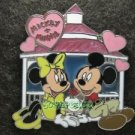 Disney Pin 2008 HKDL - Mickey & Minnie Sitting together with Hearts