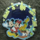Disney Pin 2011 HKDL - Stained Glass - Mickey Minnie Goofy & Pluto in Disneyland