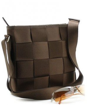 BEAUTIFUL BROWN CHECKERBOARD STYLE HANDBAG PURSE