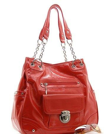 BEAUTIFUL VIBRANT RED FAUX LEATHER HANDBAG PURSE
