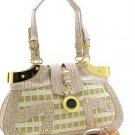 BEAUTIFUL  CHECKERBOARD CROC PRINT HANDBAG PURSE