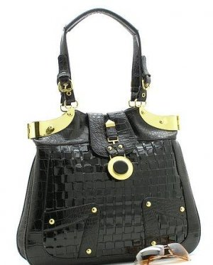 BEAUTIFUL  BLACK CHECKERBOARD CROC PRINT HANDBAG PURSE
