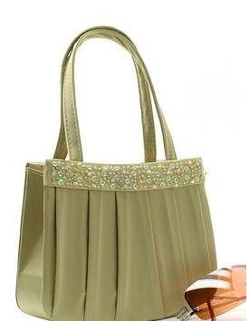 CLASSY SATIN , GLASS BEAD AND SEQUIN EVENING BAG