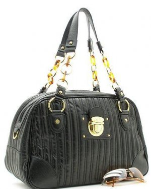 BEAUTIFUL  BLACK QUILTED FAUX LEATHER HANDBAG PURSE