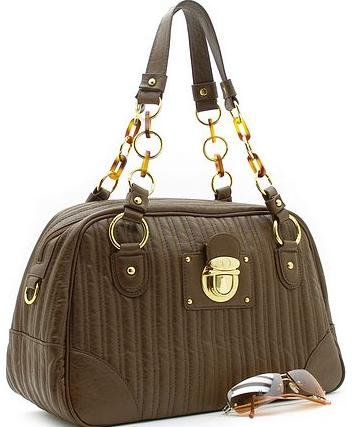BEAUTIFUL  BROWN QUILTED FAUX LEATHER HANDBAG PURSE