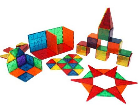 Magna-Tiles 3-D Building Set, Clear Colors - 100 pieces by alextoys