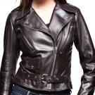 Leather Jacket Womens Biker New Fashion Coat Brown