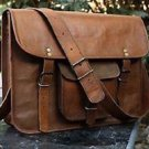 Men's vintage leather messenger satchel brown bag shoulder bag handmade briefcas