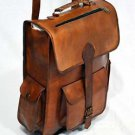 Men's real leather Rucksack handmade messenger vintage bag backpack
