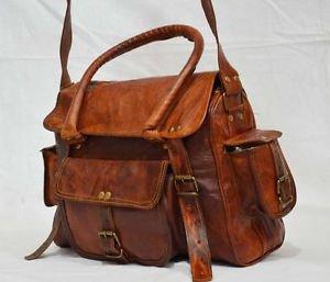 Real leather brown messenger bag women's ladies briefcase purse handmade bag