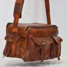Men's Real leather shoulder satchel vintage brown messenger camera men's bag