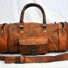 Men's leather messenger brown goat hide luggage travel bag genuine briefcase